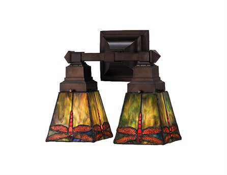 Meyda Tiffany Prairie Dragonfly Two-Light Wall Sconce