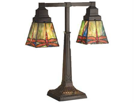 Meyda Tiffany Prairie Dragonfly 2 Arm Multi-Color Desk Lamp