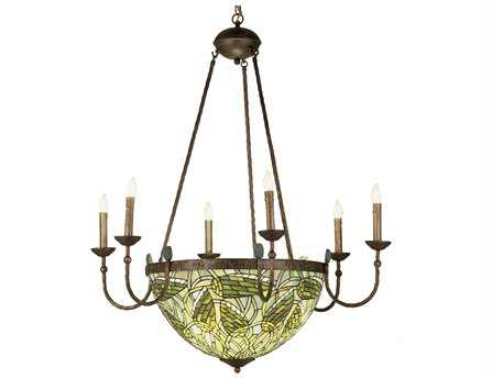 Meyda Tiffany Lotus Bud 6 Arm Inverted Ten-Light 35 Wide Grand Chandelier