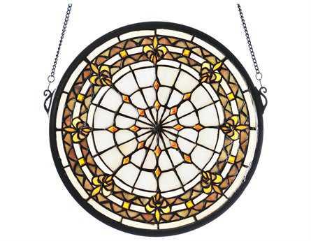 Meyda Tiffany Round Fleur-De-Lis Medallion Stained Glass Window