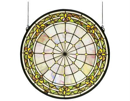 Meyda Tiffany Fleur-De-Lis Medallion Stained Glass Window