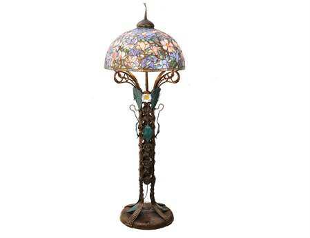 Meyda Tiffany Magnolia Nouveau Floral Multi-Color Floor Lamp