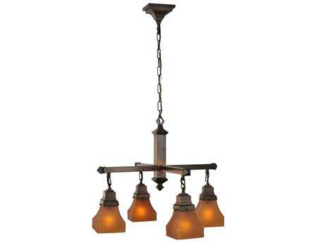Meyda Tiffany Bungalow Frosted Amber Four-Light 26 Wide Chandelier