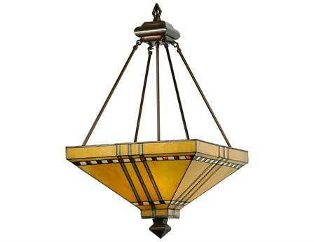 Meyda Tiffany Prairie Corn Inverted Three-Light Pendant