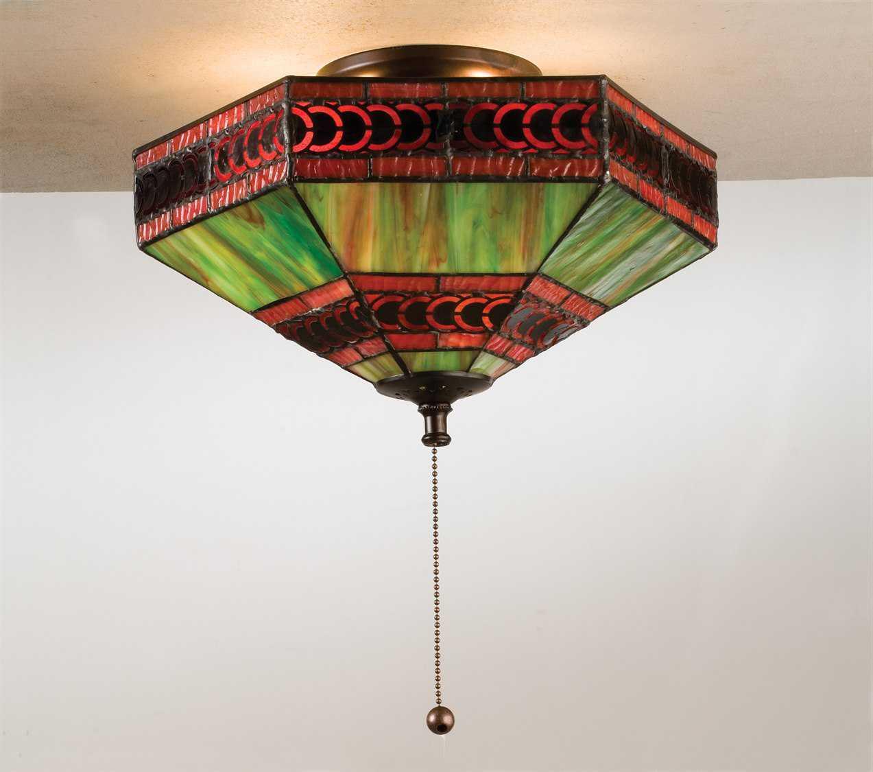 Meyda tiffany cambridge three light flush mount light for Arts and crafts flush mount lighting