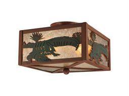 Meyda Tiffany Alligator Two-Light Flush Mount Light