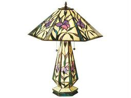 Meyda Tiffany Iris Hex Lighted Base Multi-Color Buffet Lamp
