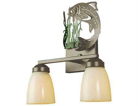 Meyda Tiffany Leaping Trout Two-Light Vanity Light