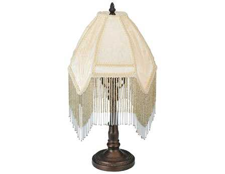 Meyda Tiffany Arabesque Fabric with Fringe Beige Accent Table Lamp