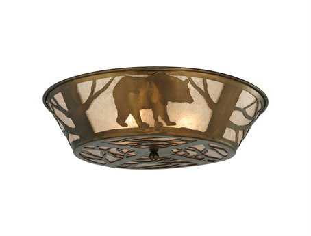 Meyda Tiffany Bear On The Loose Four-Light Flush Mount Light