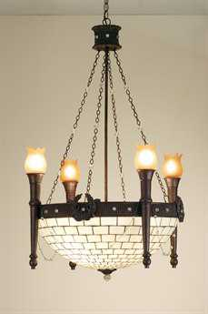 Meyda Tiffany Torch & Wreath 4 Arm Eight-Light 30 Wide Chandelier
