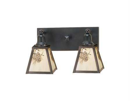 Meyda Tiffany Winter Pine Two-Light Vanity Bar Light