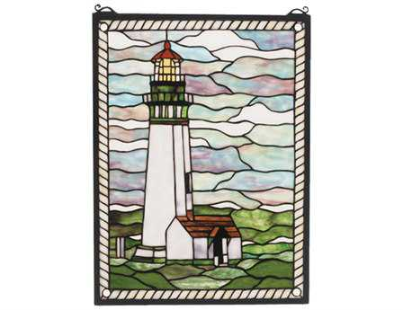 Meyda Tiffany Yaquina Head Lighthouse Stained Glass Window