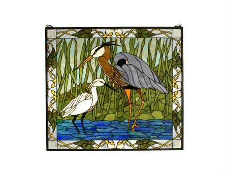 Meyda Tiffany Blue Heron & Snowy Egret Stained Glass Window