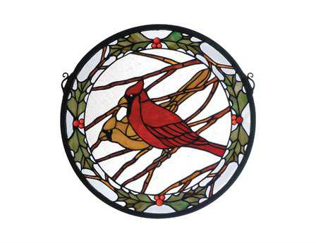 Meyda Tiffany Cardinals & Holly Medallion Stained Glass Window