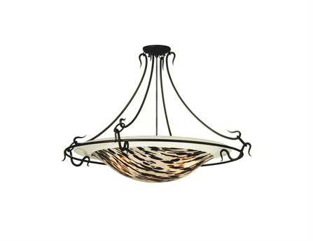 Meyda Tiffany La Perla Nera Fused Glass Three-Light Semi-Flush Mount Light