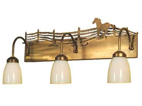 Meyda Tiffany Running Horse Three-Light Vanity Light