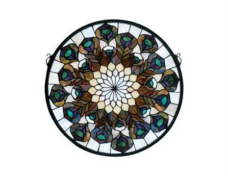 Meyda Tiffany Peacock Feather Medallion Stained Glass Window