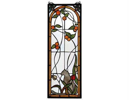 Meyda Tiffany Cat & Tulips Stained Glass Window