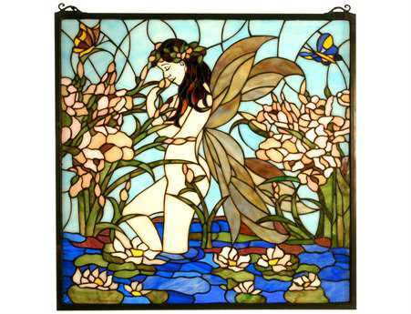 Meyda Tiffany Fairy Pond Stained Glass Window