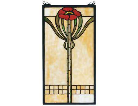 Meyda Tiffany Parker Poppy Stained Glass Window