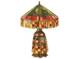 Meyda Tiffany Cottage Lighted Base Flame Green Table Lamp