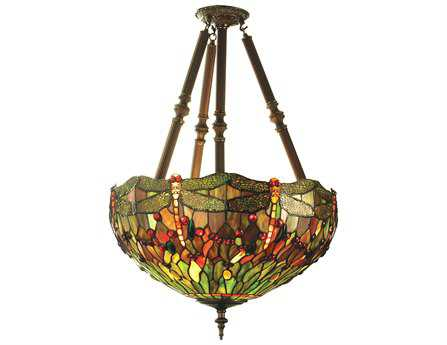 Meyda Tiffany Hanginghead Dragonfly Four-Light Semi-Flush Mount Light