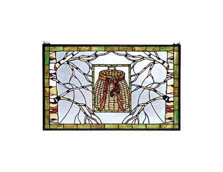 Meyda Tiffany Pack Basket Stained Glass Window