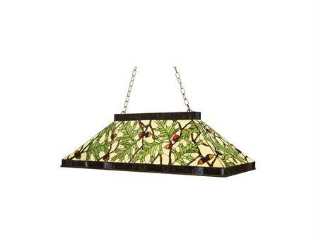 Meyda Tiffany Acorn & Oak Leaf Oblong Three-Light Pendant