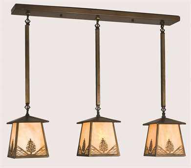 Meyda Tiffany Mountain Pine Three-Light Island Light