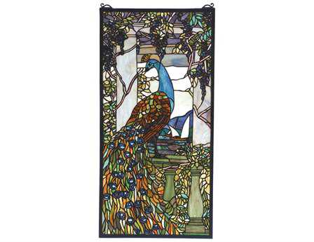 Meyda Tiffany Peacock Wisteria Stained Glass Window