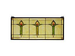 Meyda Tiffany Arts & Crafts Bud Trio Stained Glass Window