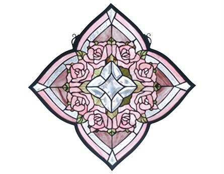 Meyda Tiffany Ring of Roses Stained Glass Window