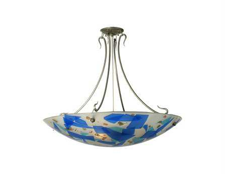 Meyda Tiffany Ciel Cadente Fused Glass Three-Light Semi-Flush Mount Light
