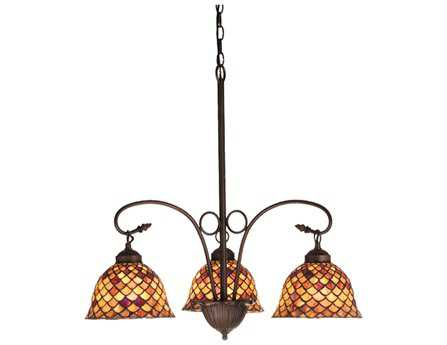 Meyda Tiffany Fishscale Three-Light 24 Wide Grand Chandelier