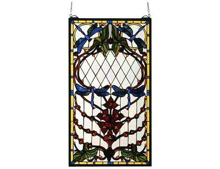 Meyda Tiffany Dragonfly Allure Stained Glass Window