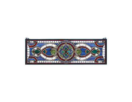 Meyda Tiffany Evelyn In Lapis Transom Stained Glass Window