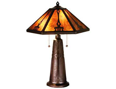 Meyda Tiffany Grenway Amber Mica Multi-Color Table Lamp