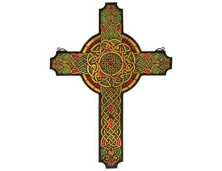 Meyda Tiffany Jeweled Celtic Cross Stained Glass Window