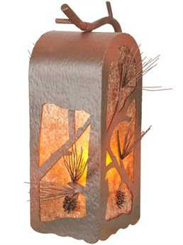 Meyda Tiffany Lone Pine Curved Arm Outdoor Wall Light