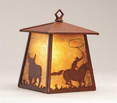 Meyda Tiffany Cowboy & Steer Hanging Outdoor Wall Light
