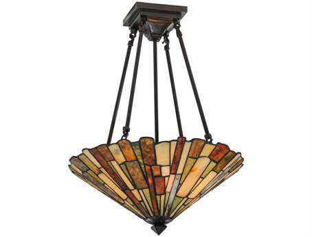 Meyda Tiffany Jadestone Delta Four-Light Semi-Flush Mount Light