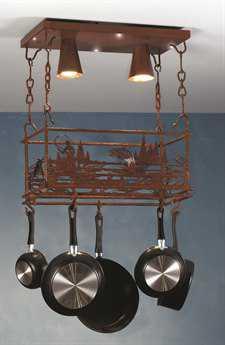 Meyda Tiffany Fly Fishing Creek Two-Light Pot Rack