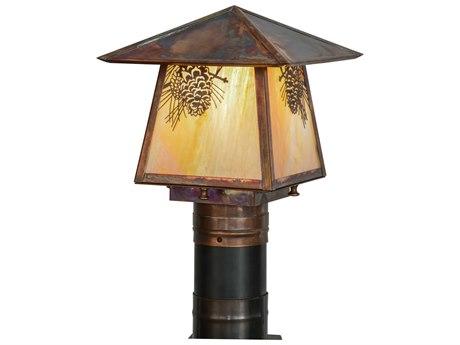 Meyda Tiffany Stillwater Winter Pine Bai Vintage Copper Outdoor Post Mount Light