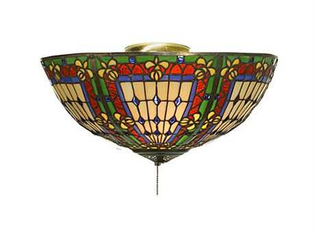 Meyda Tiffany Fleur-De-Lis Three-Light Flush Mount Light