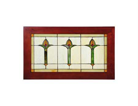 Meyda Tiffany Arts & Crafts Bud Trio Wood Frame Stained Glass Window