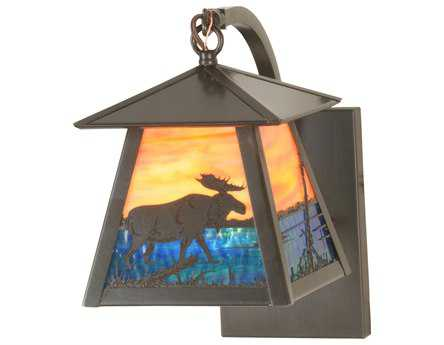 Meyda Tiffany Stillwater Moose Creek Curved Arm Outdoor Wall Light