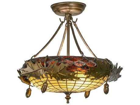 Meyda Tiffany Greenbriar Oak Three-Light Semi-Flush Mount Light