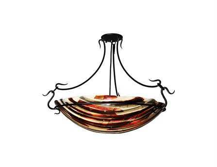 Meyda Tiffany Marina Fused Glass Three-Light Semi-Flush Mount Light