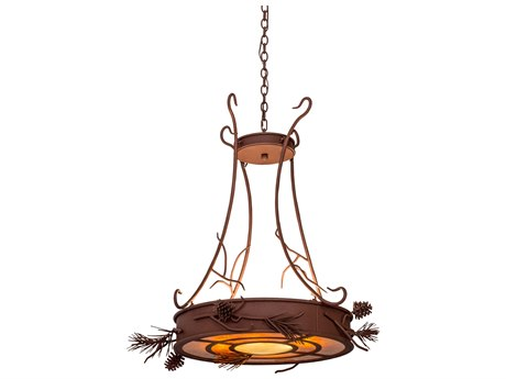 Meyda Tiffany Woodland Pine Inverted Four-Light Pendant